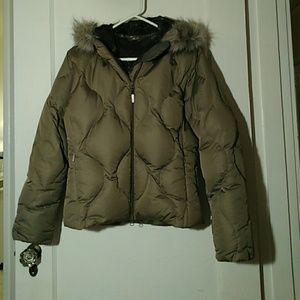 Salomon Taupe Down Jacket - Faux Fur Hood EUC